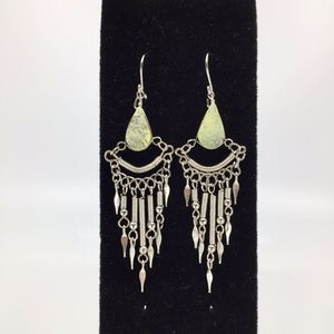 Peruvian Green Serpentine Alpaca Silver Earrings